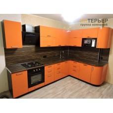 Кухня угловая Оранж МДФ глянец на заказ 2100*3100 мм. knzak-100008