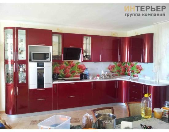 Купить Кухня угловая МДФ металлик на заказ 3900*2100 мм. knzak-100001 в Томске