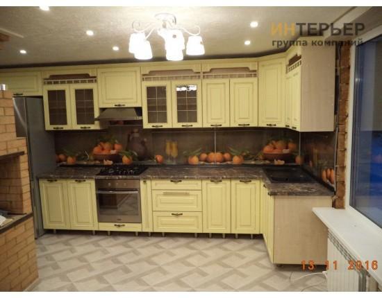 Купить Кухня угловая МДФ с фрезеровкой на заказ 4900*1600 knzak-100002 в Томске